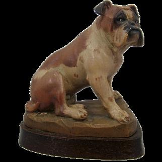 Bulldog Wood Carving Helmut Diller ANRI