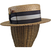 1920s Dobb's Fifth Ave Man's Straw Boater Hat Sz 7 1/4