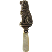 1930s Sterling Dog rattle Mother of Pearl Handle As Found