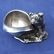 Victorian Silver PLated Bulldog Salt Dish by Pairpoint