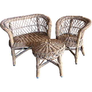 Ca 1920 Wicker/Rattan 3-Pc Doll Furniture Larger Size