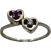 Vintage 14K Double Heart Ring Set w/ Diamond and Ruby Sz 6 1/4Th