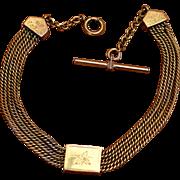 Victorian Triple Slide Watch Chain Gold Fill Draper's V. Best