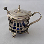 1906 Dutch 934 Silver Mustard Pot Cobalt Liner W.R.80 Mark
