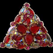 Large Triangular D&E Juliana Pin Red, Hot Pink, Aurora Borealis