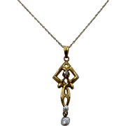 "Edwardian 10K Lavalier w/ Diamond & Baroque Pearls 18"" 10K Gold Chain"