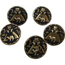 Five Ca 1930s Egyptian Buttons Brass Oxidized