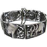 "1960s Egyptian 800 Silver Filigree Link Bracelet 7 1/4"""