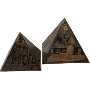 Pair Brass Egyptian Pyramid Paperweights