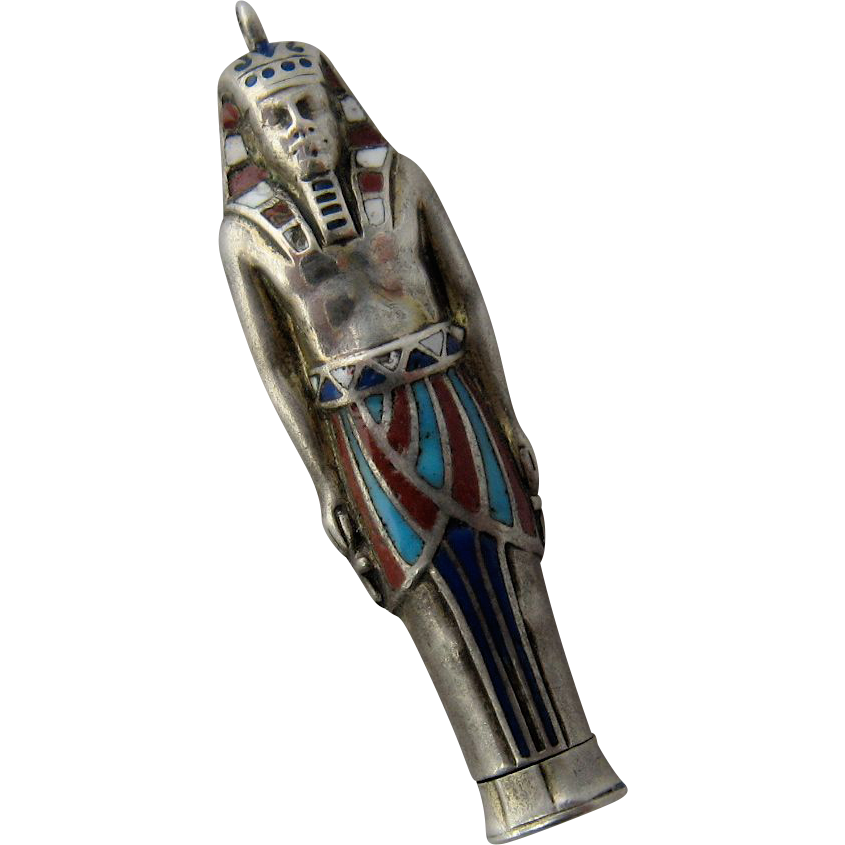 Egyptian Revival Silver Enamel Pharoah Propelling Pencil Fob