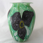 Large Heavy Robert Eickholt Art Glass Vase w/ Trilliums