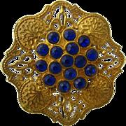 Brilliant Blue Gilded Brass Czech Pin Beautiful Metalwork