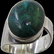 Mid Century Sterling Eilat Stone Ring Israeli Adjustable