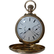 "1887 Elgin 14K Pocket Watch Hunter's Case Runs Well 1.5"" Diameter"