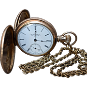 1887 Elgin Gold Fill Pocket Watch Hunter Case Chain 42mm