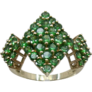 Dazzling Big 10K Emeralds Cluster Diamond-Shapes Cocktail Ring 2.4TCW Sz 7.5