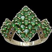 Dazzling Big 10K Emeralds Cluster Diamond-Shapes Cocktail Ring 2.4TCW Sz 7.5