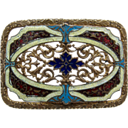 Art Nouveau Guilloche Enamel Cut-Work Gilded Brass Sash Pin