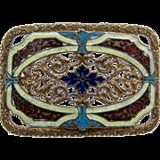 Art Nouveau Guilloche Enamel Cut-Work Gilded Brass Sash Pin