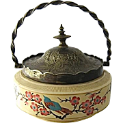 Late 1800s Enameled Ceramic Sweetmeat or Biscuit Jar Silver Plated Mounts Sheffield