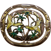 Enamel Guilloche Herons Palm Trees Gilded Copper Pin Mid 1900s
