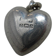 1901 Sterling Silver Solid Heart Charm Fob