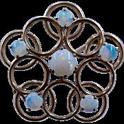 Esemco 10K Opals Circles Pin Ca 1920s
