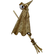 1950s 14K Witch on Broom Pin Pearl Sapphire F & F Felger Jewelry