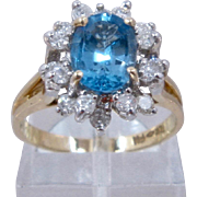 Retired Franklin Mint 14K Ice Blue Topaz & Diamonds Ring Sz 6