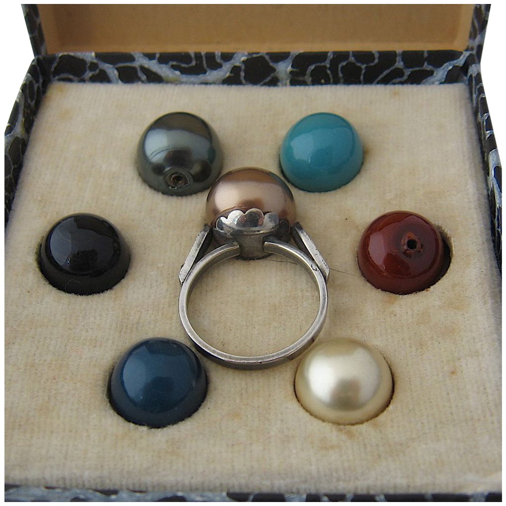 sterling cocktail ring w 7 interchangeable quot stones pearls
