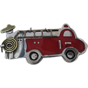 Vintage Mexican Sterling Enamel Firetruck Pin A & J Harvey