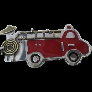 Vintage Mexican Sterling Enamel Firetruck Pin A & J Harvey