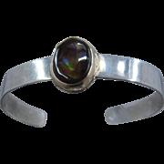 "Sterling Silver 10K Yellow Gold Fire Agate Cuff Bracelet 6 1/2"""