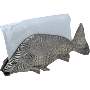 Vintage Modello Depositato Fish Napkin Holder Silver Tone