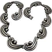 Ca 1950s Luis Flores Taxco Sterling Waves Links Necklace 13 1/4""