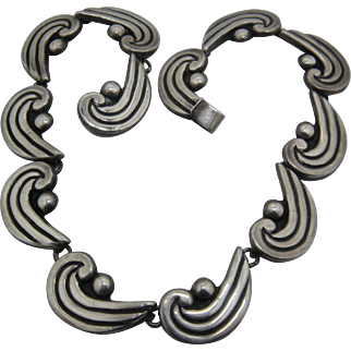 """Ca 1950s Luis Flores Taxco Sterling Waves Links Necklace 13 1/4"""""""
