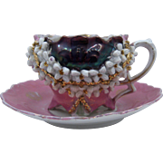 Germany Pink Luster Gilt Applied Porcelain Flowers Cup & Saucer 1930s