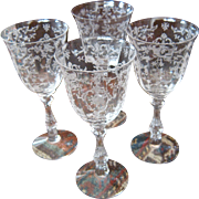 "Set 4 Fostoria ""Navarre"" Etched Crystal Water Glasses Stems Goblets"