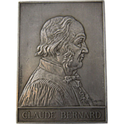 1913 Claude Bernard France Engraved Memorial Plaque Medal