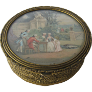 Antique French Gilt Brass Trinket Box w/ Scene Under Glass