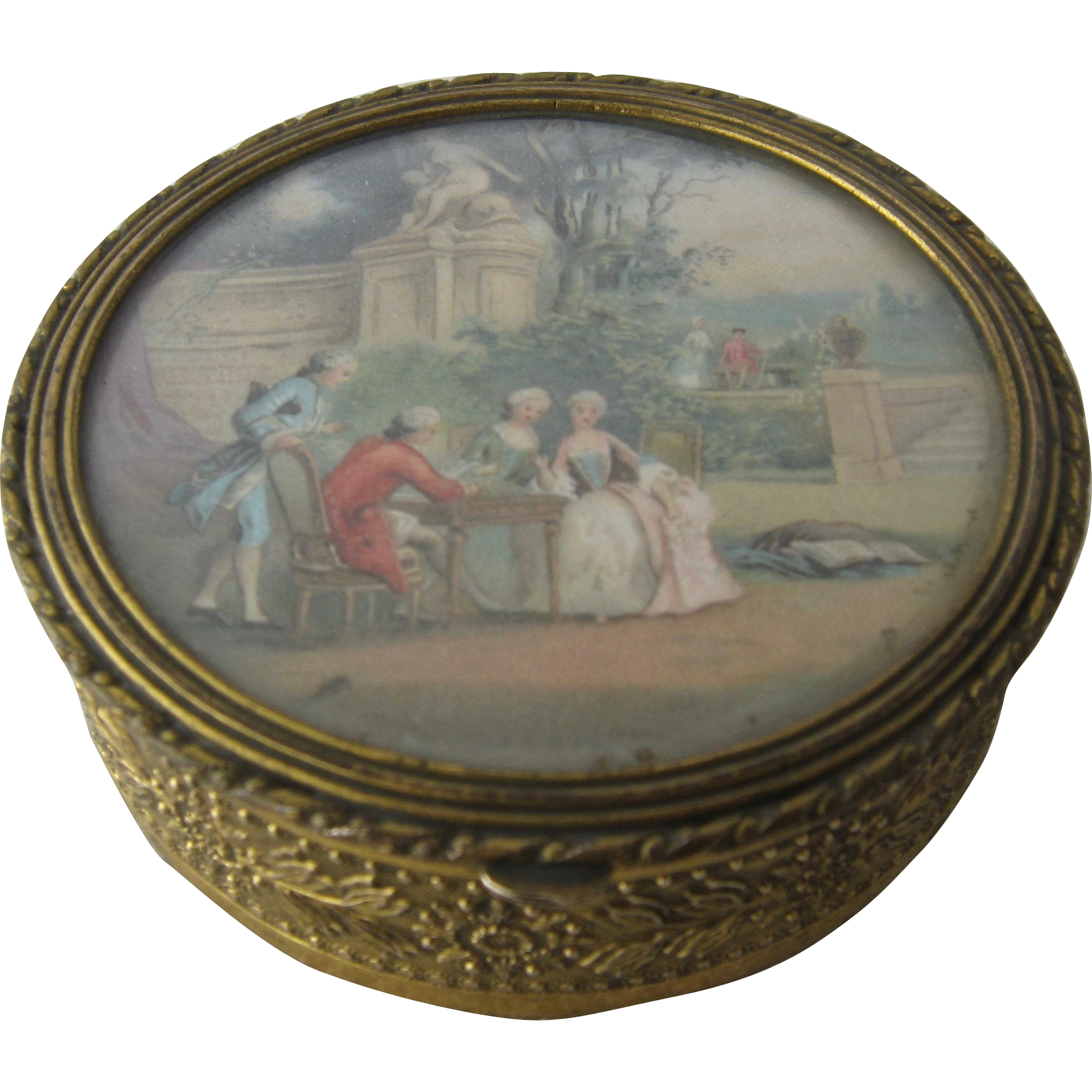Antique French Gilt Brass Trinket Box W Scene Under Glass