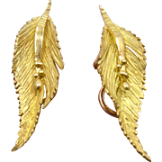 Georg Jensen & Wendel 18K Leaf Earrings in Case Clip