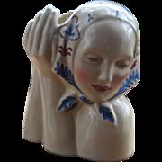 1930s Gladding McBean Peasant Girl Head Vase Painted Dorr Bothwell