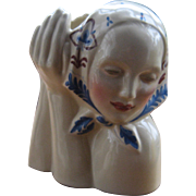 1930s Gladding McBean Peasant Girl Head Vase Painted Dorr Bothwell