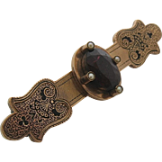 C. 1870's 12K Gold & Garnet Seed Pearl Enameled Bar pin