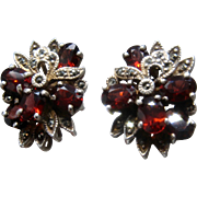 Big Sterling Silver Garnets and Marcasites Floral Cluster Post Earrings.