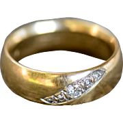 Vintage 18K Wide Band Mens Ring w/ 5 Inset Diamonds