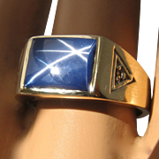 14K Star Sapphire & Diamonds Mens Ring Size 10