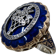 Georgian 14K Blue Enamel Diamonds Flower Basket Ring Sz 5 1/2+