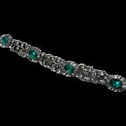 Ca 1830s Georgian 15K & Sterling Bar Pin w/ Emerald & Diamante Paste